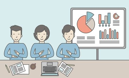 the reporting: Business people sitting at the office with graphs on the whiteboard behind them. Reporting concept. Vector line design illustration. Horizontal layout with a text space.