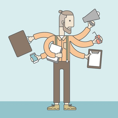 telephone cartoon: A caucasian businessman with many hands confused having a lot to do. Vector line design illustration. Square layout.