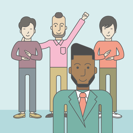 Group of happy businessmen standing. Business partnership concept. Vector line design illustration. Square layout. Ilustração