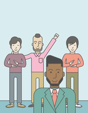Group of happy businessmen standing. Business partnership concept. Vector line design illustration. Vertical layout with a text space. Ilustração