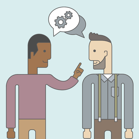 Two happy men facing each other sharing ideas with speech bubble on the top of their heads. Business partnership concept. Vector line design illustration. Square layout.