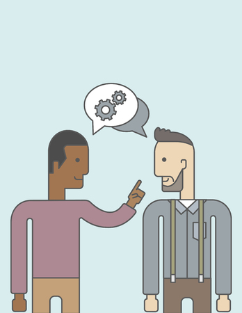 other space: Two happy men facing each other sharing ideas with speech bubble on the top of their heads. Business partnership concept. Vector line design illustration. Vertical layout with a text space.