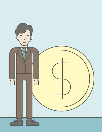 standing in line: An asian businessman standing with dollar coin beside him. Successful business concept. Vector line design illustration. Vertical layout with a text space.