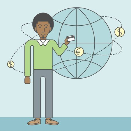 man holding money: A black man holding credit card stands near money coins flying around the globe. Ecommerce business concept. Vector line design illustration. Square layout. Illustration