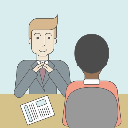 the applicant: A smiling caucasian human resource manager interviewed the applicant with his curriculum vitae for the job vacancy. Employment concept. Vector line design illustration. Square layout.
