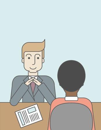 Un caucásico gerente de recursos humanos sonriendo entrevistó el solicitante con su curriculum vitae para la oferta de empleo. Concepto de empleo. Línea de la ilustración del vector de diseño. Diseño vertical con un espacio de texto. Foto de archivo - 45884377