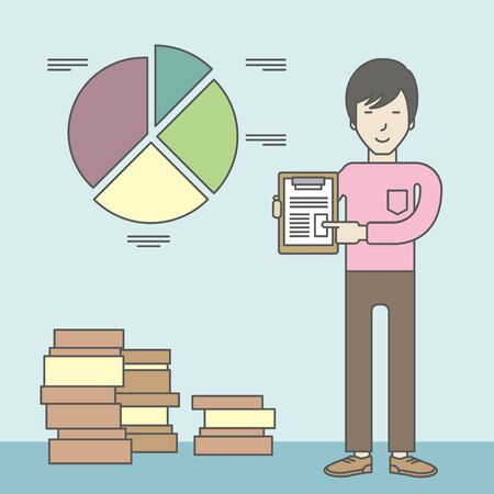 standing in line: An asian man standing inside office showing his complete paperwork. Reporting concept. Vector line design illustration. Square layout.