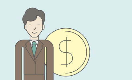 asian businessman: An asian businessman standing with dollar coin beside him. Successful business concept. Vector line design illustration. Horisontal layout with a text space.
