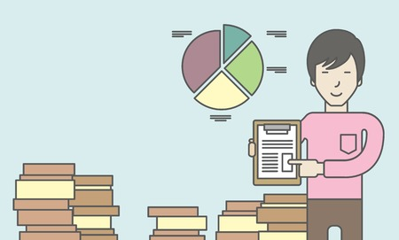 the reporting: An asian man standing inside office showing his complete paperwork. Reporting concept. Vector line design illustration. Horizontal layout with a text space.