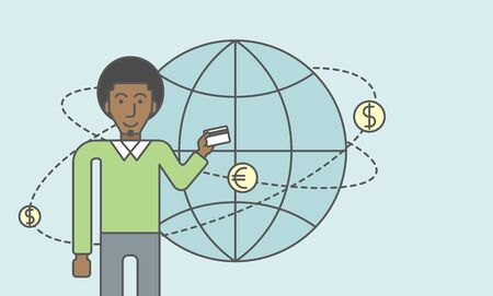 man holding money: A black man holding credit card stands near money coins flying around the globe. Ecommerce business concept. Vector line design illustration. Horizontal layout with a text space.