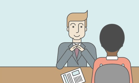 interview: A smiling caucasian human resource manager interviewed the applicant with his curriculum vitae for the job vacancy. Employment concept. Vector line design illustration. Horizontal layout with a text space.