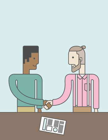 facing each other: Two men standing facing each other handshaking for the successful business deal. Business partnership concept. Vector line design illustration. Vertical layout with a text space.
