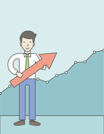 asian businessman: Cheerful asian businessman holding arrow on the growth graph background. Business growth concept. Vector line design illustration. Vertical layout with a text space. Illustration