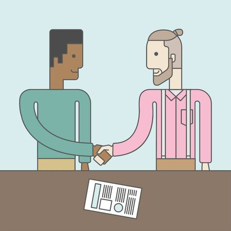 standing in line: Two men standing facing each other handshaking for the successful business deal. Business partnership concept. Vector line design illustration. Square layout.