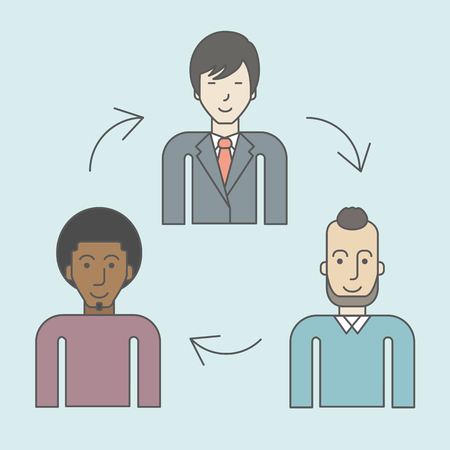 Three employee and circular arrows between them. Staff turnover concept. Vector line design illustration. Square layout.