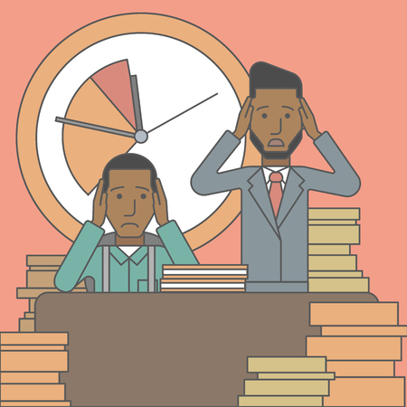 stack of files: Two scared businessman holding their heads at the office and clock behind. Deadline concept. Vector line design illustration. Square layout.