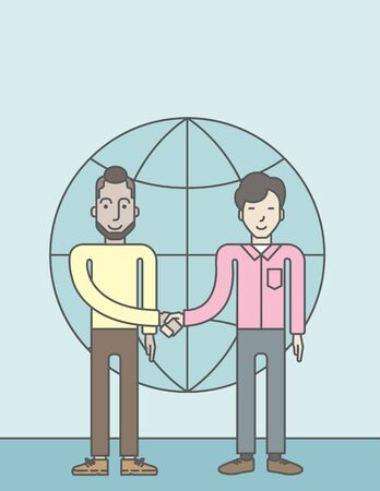 asian business: Two men standing and handshaking for the successful business deal on the globe background. Business partnership concept. Vector line design illustration. Vertical layout with a text space.