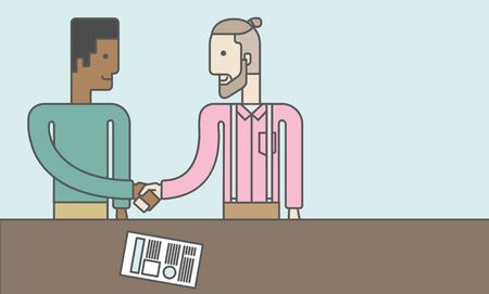 business deal: Two men standing facing each other handshaking for the successful business deal. Business partnership concept. Vector line design illustration. Horizontal layout with a text space. Illustration