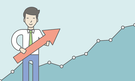 asian businessman: Cheerful asian businessman holding arrow on the growth graph background. Business growth concept. Vector line design illustration. Horizontal layout with a text space.
