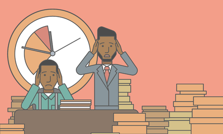 overloaded: Two scared businessman holding their heads at the office and clock behind. Deadline concept. Vector line design illustration. Horizontal layout with a text space.