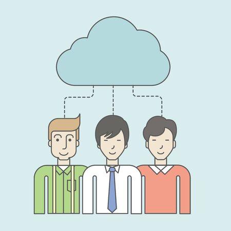 men standing: Three men standing under the cloud. Vector line design illustration. Square layout. Illustration