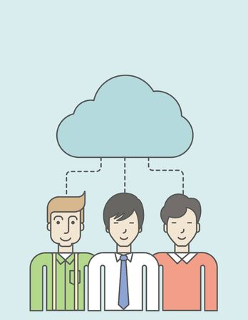 Three men standing under the cloud. Vector line design illustration. Vertical layout with a text space.