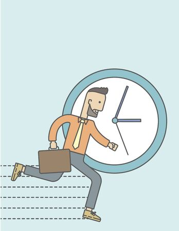 overcome: Businessman running on clock background. Vector line design illustration. Vertical layout with a text space.