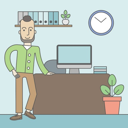 standing in line: A caucasian hipster man standing in office. Successful business concept. Vector line design illustration. Square layout. Illustration
