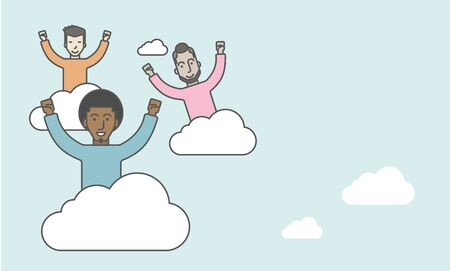 Three happy businessmen on the top of cloud with raised hands. Successful business concept. Vector line design illustration. Horizontal layout with a text space.