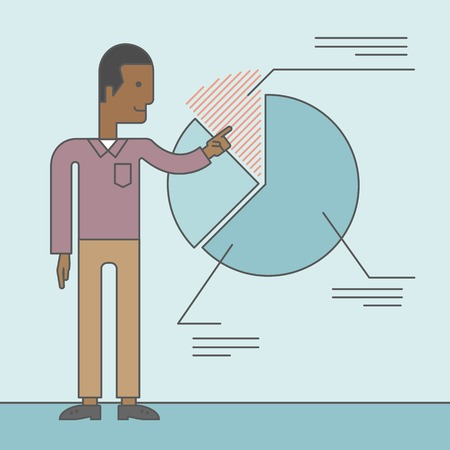 the reporting: A black man presenting his report through diagram. Reporting concept. Vector line design illustration. Square layout. Illustration