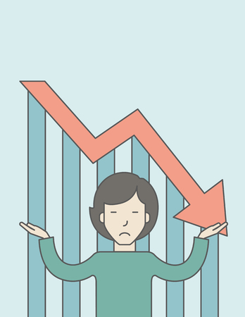 femme d affaire asiatique: An asian business woman with falling down graph is confused. Bankruptcy concept. Vector line design illustration. Vertical layout with a text space. Illustration