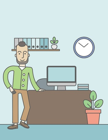 standing in line: A caucasian hipster man standing in office. Successful business concept. Vector line design illustration. Vertical layout with a text space.