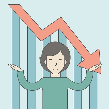 femme d affaire asiatique: An asian business woman with falling down graph is confused. Bankruptcy concept. Vector line design illustration. Square layout. Illustration