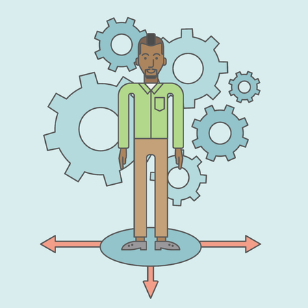 hesitate: A black businessman standing on three alternative ways with gears behind him. Vector line design illustration. Square layout. Illustration