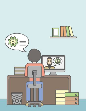 computer work: Man sitting inside the office and talking with other man using video chat. Communication concept. Vector line design illustration. Vertical layout with a text space.