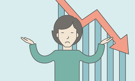 femme d affaire asiatique: An asian business woman with falling down graph is confused. Bankruptcy concept. Vector line design illustration. Horizontal layout with a text space. Illustration