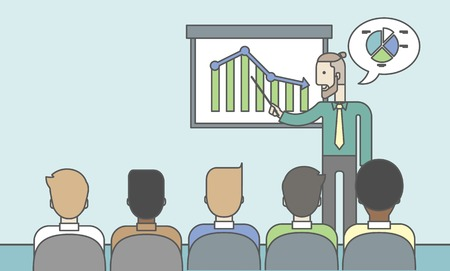guy standing: The man with a beard presenting his report through infographics in office. Reporting concept. Vector line design illustration. Horizontal layout with a text space.