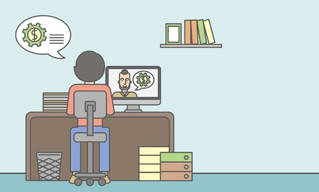 computer work: Man sitting inside the office and talking with other man using video chat. Communication concept. Vector line design illustration. Horizontal layout with a text space. Illustration