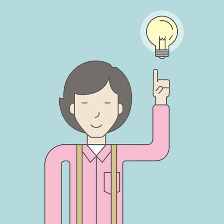 femme d affaire asiatique: An asian woman pointing at light bulb. Successful business concept. Vector line design illustration. Square layout.