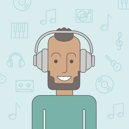 listener: Happy black man listening to music with headphone. Vector line design illustration. Square layout.