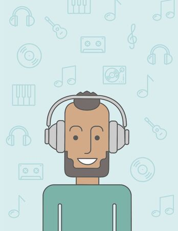 happy black man: Happy black man listening to music with headphone. Vector line design illustration. Vertical layout with a text space.
