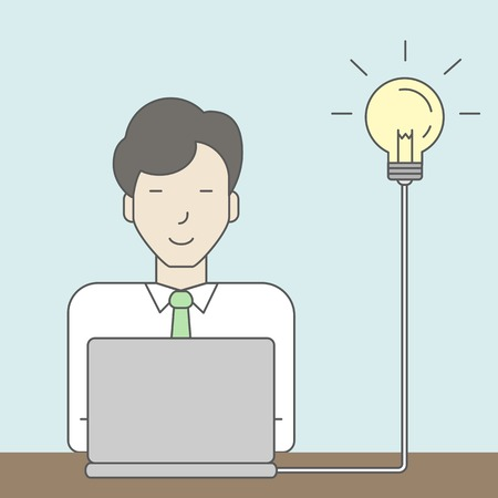 asian businessman: An asian businessman working at the office with light bulb beside his head. Successful business concept. Vector line design illustration. Square layout.