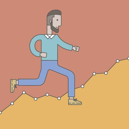 caucasian: Cheerful caucasian businessman running along the growth graph. Vector line design illustration. Square layout. Illustration