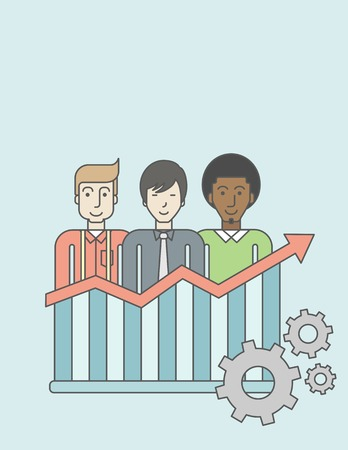 line graph: Three businessmen standing over growing chart. Perspective business concept. Vector line design illustration. Vertical layout with a text space.
