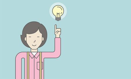 femme d affaire asiatique: An asian woman pointing at light bulb. Successful business concept. Vector line design illustration. Horisontal layout with a text space.