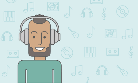 listening to people: Happy black man listening to music with headphone. Vector line design illustration. Horizontal layout with a text space. Illustration