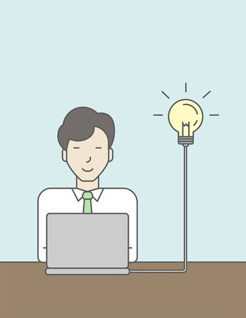 asian business: An asian businessman working at the office with light bulb beside his head. Successful business concept. Vector line design illustration. Vertical layout with a text space.