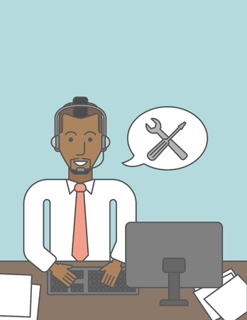 person computer: Operator of technical support sitting at the desk. Vector line design illustration. Vertical layout with a text space. Illustration