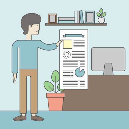 guy standing: A man standing inside office showing his complete paperwork. Reporting concept. Vector line design illustration. Square layout. Illustration