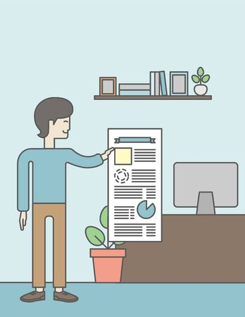 the reporting: A man standing inside office showing his complete paperwork. Reporting concept. Vector line design illustration. Vertical layout with a text space. Illustration